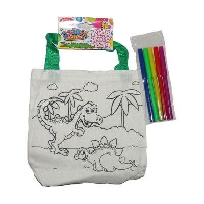 Animal Antics Colour Your own Tote Bag with Pens Dinosaur