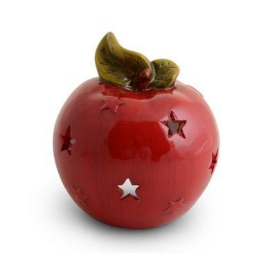 Glossy Red Terracotta Apple Christmas Tealight Holder Lantern
