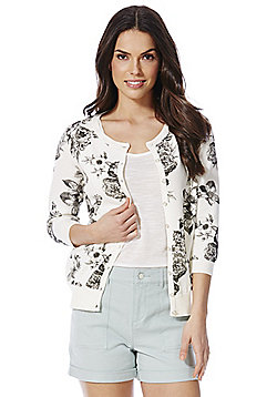 F&F Floral Print 3/4 Length Sleeve Cardigan with As New technology - Cream & Black