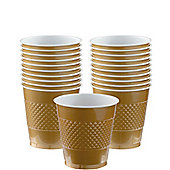 Gold Plastic Cups 266ml, Pack of 20