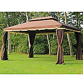 Outsunny3m x 4m Aluminium Metal Gazebo + Side walls in Brown