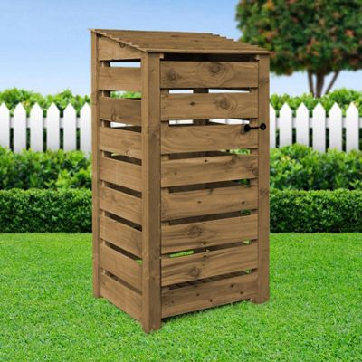 Burley slatted wooden log store with doors - 6ft