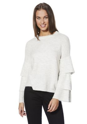 Only Tiered Sleeve Jumper M Cream