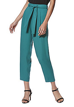 F&F Self-Tie Belt Peg Leg Trousers - Green