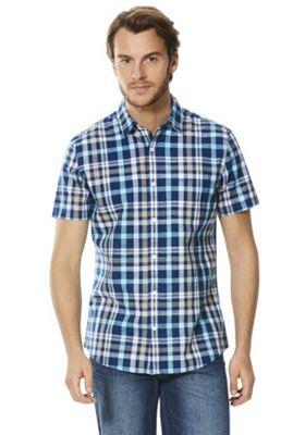 F&F Checked Short Sleeve Shirt Green 2XL