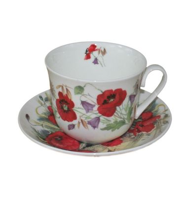 Roy Kirkham Jumbo Breakfast Cup and Saucer in Poppy Design 12430