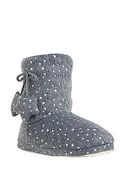 F&F Star Foil Print Faux Fur Bootie Slippers - Charcoal