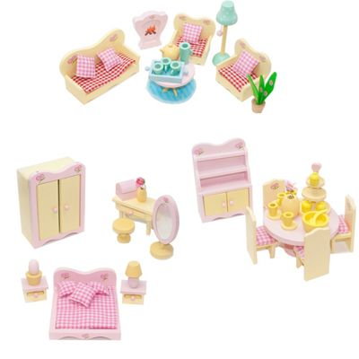 Sweetbee Living Room, Dining Room & Master Bedroom Dolls House Furniture