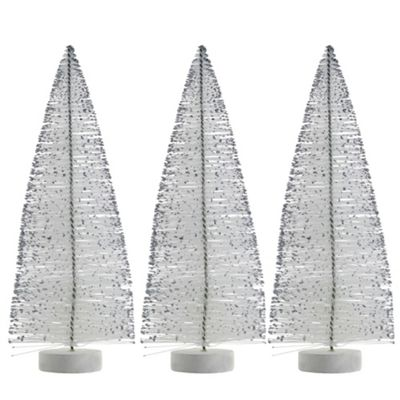 3 x 25cm White Plastic Bottle Brush Bristle Glittery Christmas Tree Ornaments