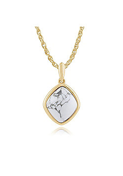 Gemondo 925 Gold Plated Sterling Silver 3.40ct Howlite Pendant on 45cm Chain