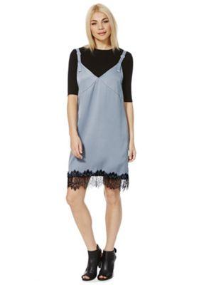First & I Eyelash Lace Hem Slip Dress L Grey