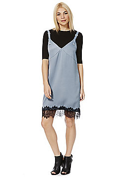 First & I Eyelash Lace Hem Slip Dress - Grey