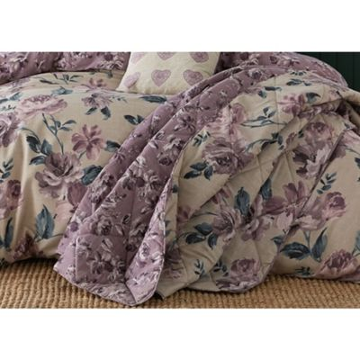 Catherine Lansfield Painted Floral Plum Bedspread - 220x230cm