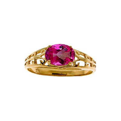 QP Jewellers 1.15ct Pink Topaz Catalan Filigree Ring in 14K Gold - Size M