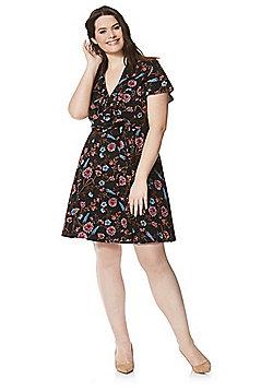 Lovedrobe Floral Print Plus Size Wrap Dress - Multi