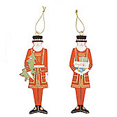 British Beefeater Christmas Decorations - Set Of Two