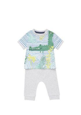 F&F Crocodile Print T-Shirt and Joggers Set Green/Grey 6-9 months