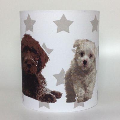 Dogs and Stars Medium Fabric Light Shade