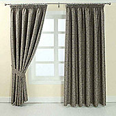 """Homescapes Grey Jacquard Curtain Floral Damask Design Fully Lined - 90"""" X 54"""" Drop"""