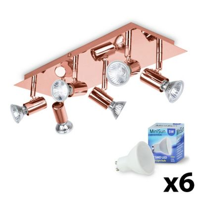 Consul 6 Way LED Ceiling Spotlight, Copper & Daylight GU10 Bulbs