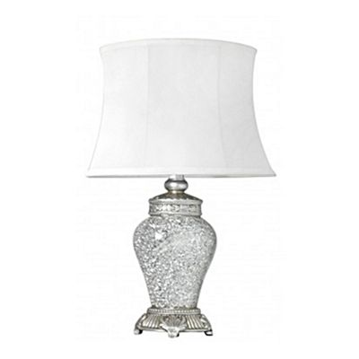 Silver Sparkle Mosaic Antique Silver Regency Small Lamp with White Trimmed Shade