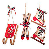 Set of 3 Red Wooden Skates, Sledge & Skis Hanging Christmas Tree Decorations