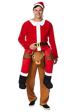 F&F Ride On Reindeer Santa Claus Fancy Dress Costume - Red