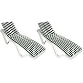 x 2 Sun Lounger Cushions - Green / White - Fits most Loungers Inc Resol Master