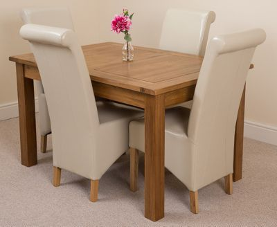 Cotswold Rustic Solid Oak Extending 132 - 198 cm Dining Table with 4 Ivory Montana Leather Chairs