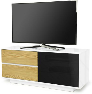 MDA Gallus Ultra Gloss White and Oak TV Cabinet For 55 inch TV s