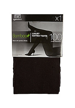 F&F Signature 100 Denier Appearance Knitted Tights with Bamboo Fibres - Black