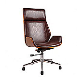 LOMBARD PADDED OFFICE CHAIR-Brown Faux Leather