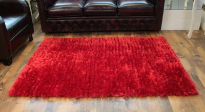 Red Deep Pile Large Deluxe Shaggy Rug Chic Style Home Decor