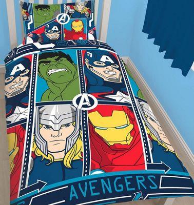 Marvel Avengers Single Duvet and Curtains 72s - Tech