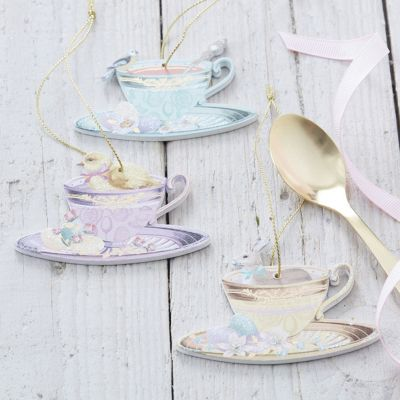 Set of Three Vintage Easter Tea Cup & Saucer Decorations