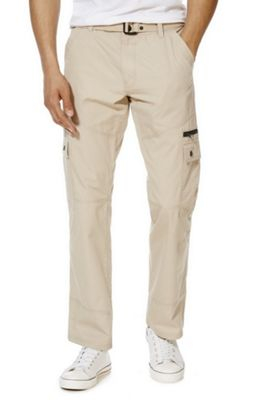 F&F Ripstop Loose Fit Cargo Trousers with Belt 30 Waist 30 Leg Stone