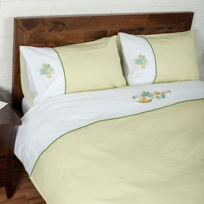 Homescapes Green and White 'Embroidered Harbour' Duvet Cover Set, Double