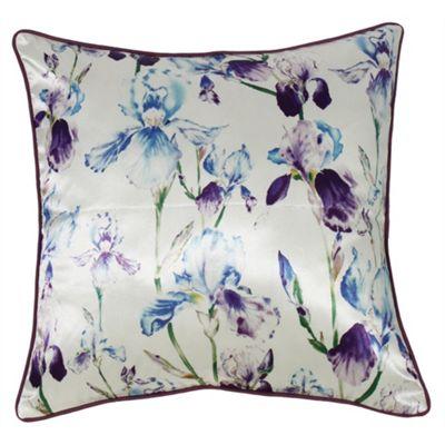 Satin Floral Cushion - Purple