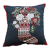 Winter Stocking Tapestry Cushion Cover