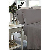 Catherine Lansfield Non Iron Percale Grey Flat Sheet - Double