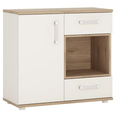4KIDS 1 door 2 drawer cabinet with open shelf in light oak and white high gloss with opalino handles