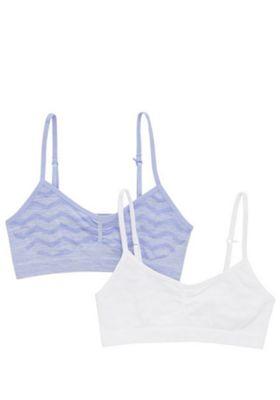 F&F 2 Pack of Seamfree Underband Crop Tops Purple/White 9-10 years
