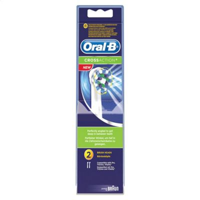 Braun Oral-B EB50B2 Cross Action Replacement Rechargeable Toothbrush Heads Pack of 2 - White