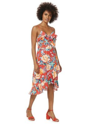 F&F Tropical Lattice Back Frilly Dress Red Multi 20