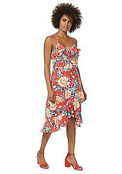 F&F Tropical Lattice Back Frilly Dress - Red Multi