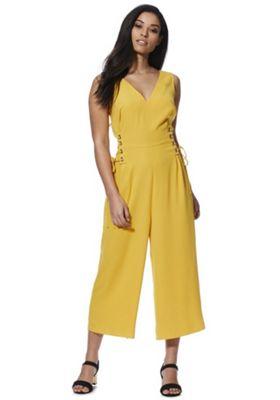 F&F Lace-Up Waist Sleeveless Jumpsuit Mustard Yellow 22