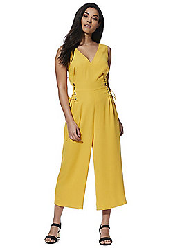 F&F Lace-Up Waist Sleeveless Jumpsuit - Mustard Yellow