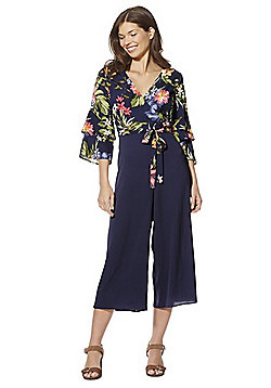 F&F Floral Bodice Tiered Sleeve Jumpsuit - Navy/Multi