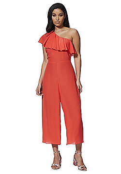 F&F Ruffle Trim One Shoulder Jumpsuit - Coral