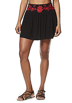 F&F Embroidered Beach Skirt - Black/Red